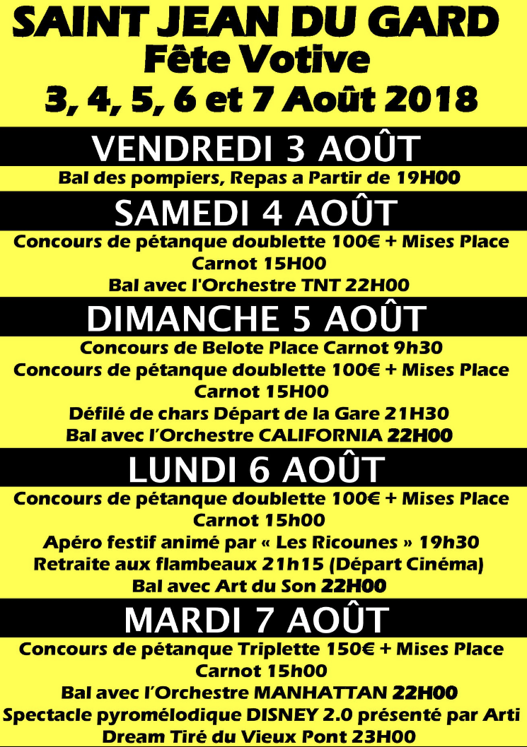 Calendrier Fete Votive 2019 Gard.Fete Votive Mairie De Saint Jean Du Gard